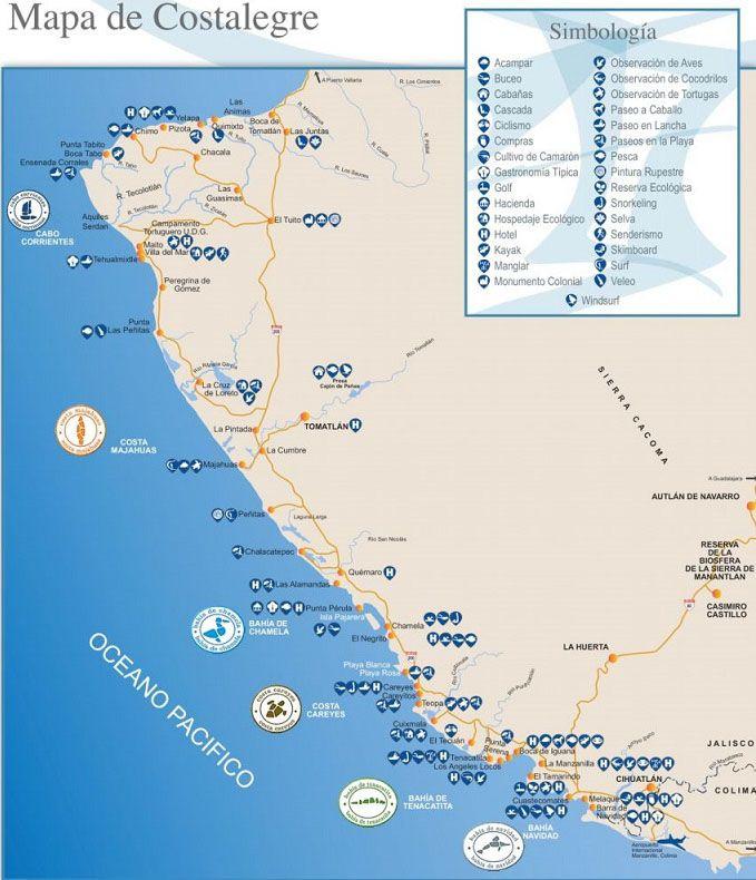 Playa Costa Alegre Mapa de Playas
